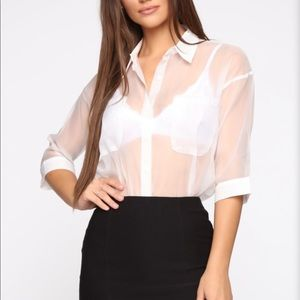 FN See Through Button Up Top XS